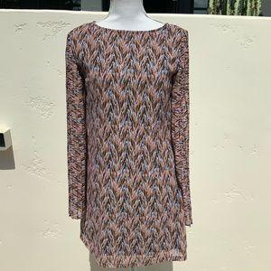 📁Beautiful Chevon Stripe Dress w/Pleated Slv S